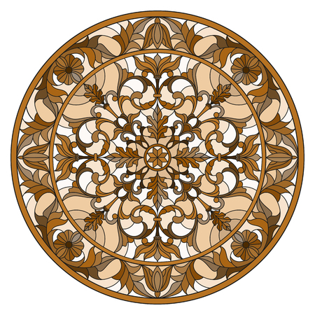 Illustration in stained glass style, round mirror image with floral ornaments and swirls