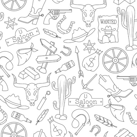 Seamless pattern on the theme of the wild West, contour icons, black contour on white background
