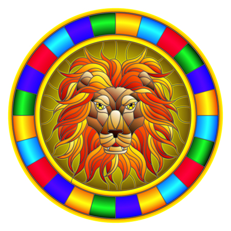 The illustration in stained glass style painting with a lion's head , a circular image with bright frame