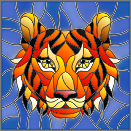 The illustration in stained glass style painting with a tiger head on a blue background, square image.