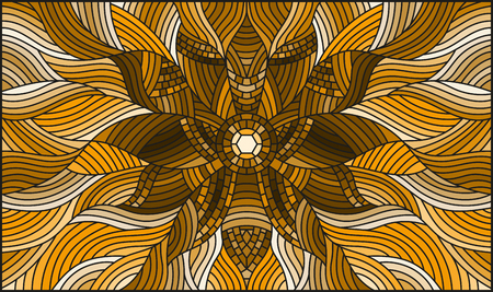 Illustration in stained glass style with abstract flower on wavy background, brown tone, sepia.