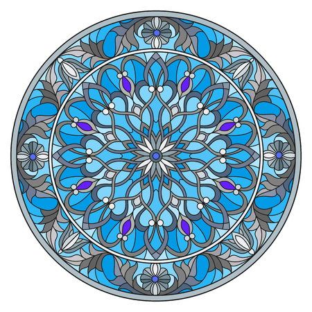 Illustration in stained glass style, round mirror image with floral ornaments and swirls. Illustration