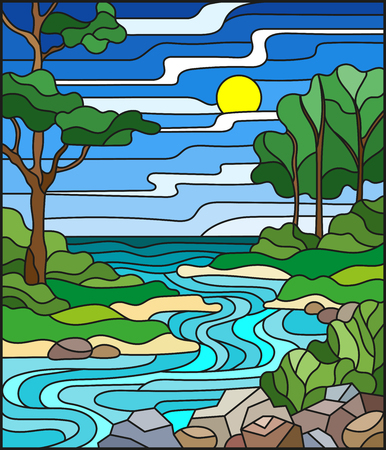 Illustration in stained glass style landscape, meandering river on the background of the green banks of trees on a background sky and sun.