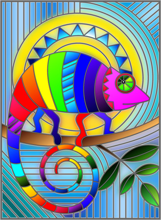 Illustration in stained glass style with abstract geometric rainbow chameleon.