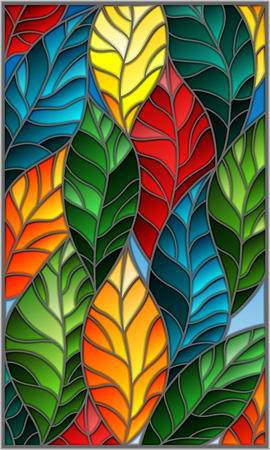 Illustration in stained glass style with colorful leaves trees on a dark background. Ilustracja