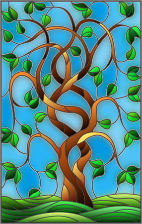 Illustration in stained glass style with twisted green tree on sky background.