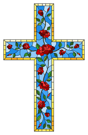 The illustration in stained glass style painting on religious themes, stained glass window in the shape of a Christian cross decorated with red roses isolated on white background Ilustrace