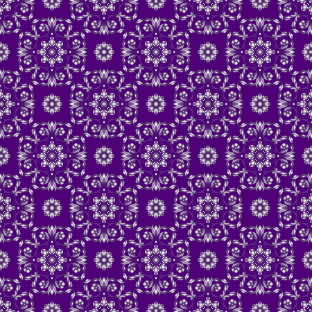 Seamless background with floral patterns, vintage silver patterns on purple background
