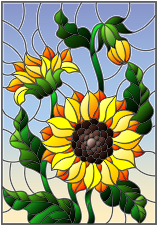 Illustration in stained glass style with a bouquet of sunflowers, flowers,buds and leaves of the flower on sky background Illustration