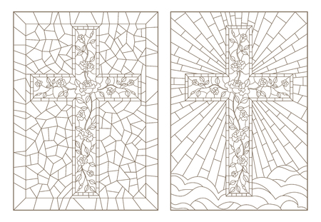 Set of outline illustrations of stained glass Windows with Christian crosses decorated with roses, dark outlines on white background