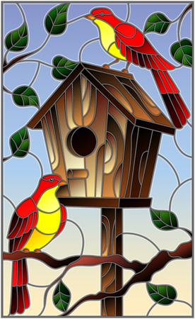 Illustration in stained glass style with a pair of bright red birds and a birdhouse on a background of tree branches and sky Vectores