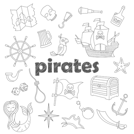 Set of contour icons on the topic of piracy and Maritime, dark  contour  icons on the  white sheet in a cage Illustration