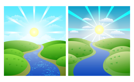Set of illustrations with simple summer landscapes, winding river against green shores and Sunny sky