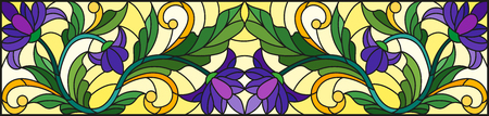 Illustration in stained glass style with abstract  swirls,purple flowers and leaves  on a yellow  background,horizontal orientation Illustration