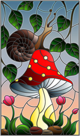 Illustration in stained glass style snail on the mushroom , on the background branches with leaves , grass and sky Ilustracja