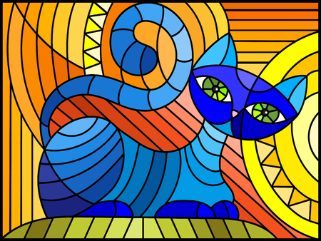 Illustration in stained glass style with abstract blue geometric cat on an orange background Ilustracja