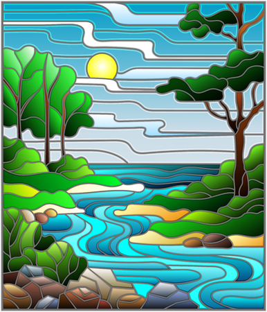 Illustration in stained glass style landscape, meandering river on the background of the green banks of trees on a background sky and sun