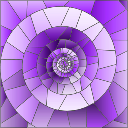 Illustration in stained glass style with abstract spiral in purple tones
