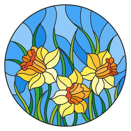 Illustration in stained glass style with a bouquet of yellow daffodils on a blue background, round image Illustration