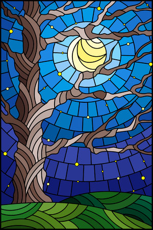 Illustration in stained glass style with tree on sky background with the stars and moon Çizim