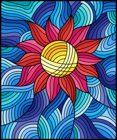 Illustration in stained glass style with bright pink abstract flower on blue   wavy background