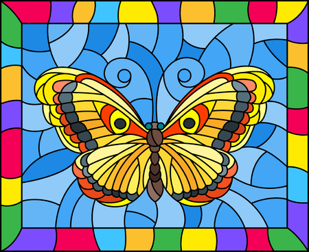 Illustration in stained glass style with bright yellow butterfly on a blue background in a bright frame  Ilustracja