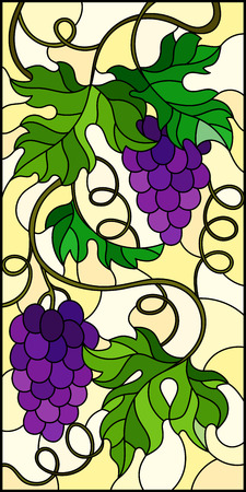 The illustration in stained glass style painting with a bunch of red grapes and leaves on a yellow background