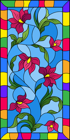 Illustration in the style of stained glass with intertwined abstract pink  flowers and leaves on a blue  background in a bright frame