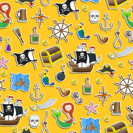 Seamless illustration of the topic of piracy and Maritime travel color stiker icons on yellow background