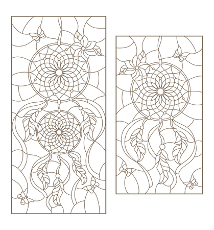 Set of outline illustrations of stained glass Windows with dream catchers and butterflies, dark outline on white background