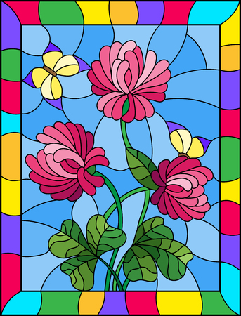 Illustration in stained glass style with bouquet of pink   clover and yellow butterflies on a sky background ,in a bright frame