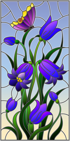 Illustration in stained glass style with leaves and bells flowers, purple flowers and butterfly on sky background Ilustracja