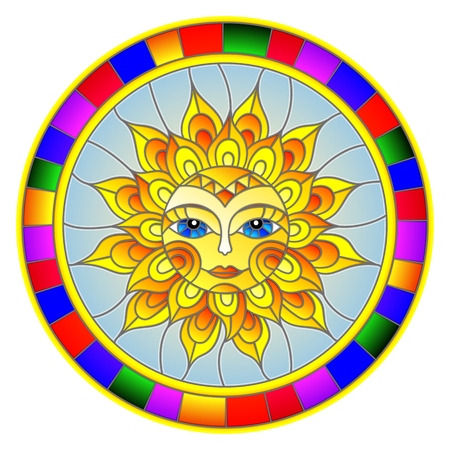 Illustration in the style of a stained glass window with abstract sun in bright frame,round image.