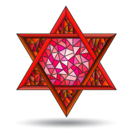 The six-pointed red star in the stained glass style on white background isolate. Ilustração