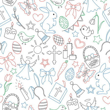 Seamless pattern with simple contour icons on a theme the holiday of Easter , colored outline icons on white background.
