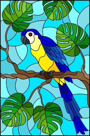 Illustration in stained glass style blue bird parakeet on branch tropical tree against the sky.