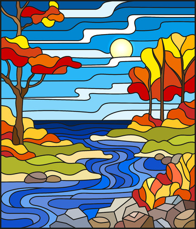 Illustration in stained glass style with a rocky Creek in the background of the Sunny sky, lake, trees and fields,autumn landscape.