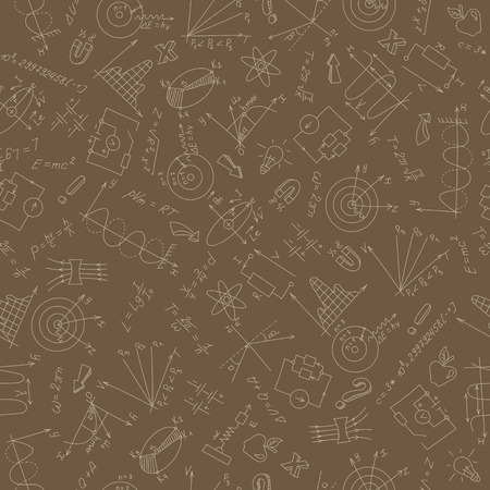 Seamless pattern on the theme of study and subject of physics, graphs and formulas, beige outlines on a brown background.
