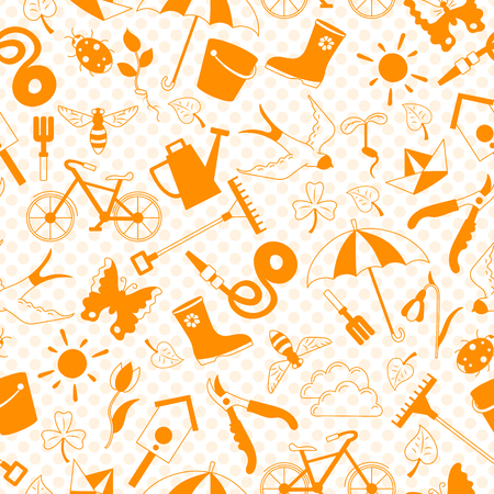 Seamless pattern with simple  icons on the theme of spring , orange silhouettes icons on a orange  background polka dot Illustration