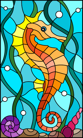 Illustration in stained glass style with a  fish seahorse