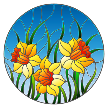 Illustration in stained glass style with a bouquet of yellow daffodils on a blue background, round image Ilustracja