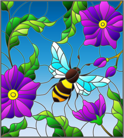 Illustration in stained glass style with bee on background of branches with purple flowers, leaves and sky