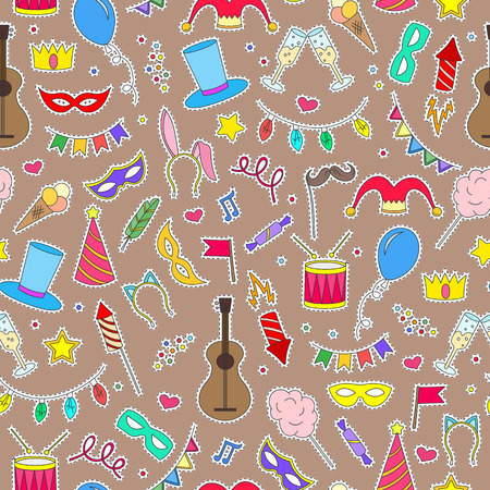 Seamless pattern on the theme of masquerade and carnival , simple painted icons, patch icons on brown background