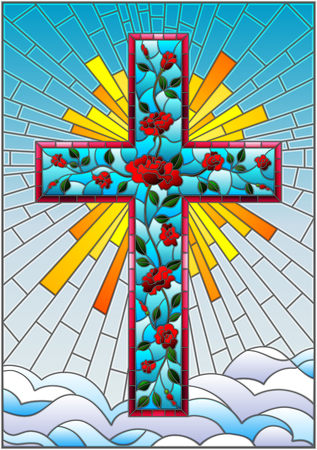 Illustration in stained glass style with Christian cross decorated with pink roses on the background of sky with clouds Illustration