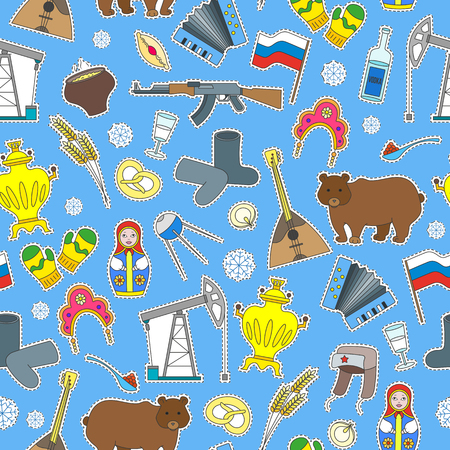 Seamless pattern on the theme of travel in the country of Russia