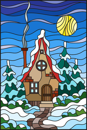 Illustration in vintage style winter landscape, village house and fir-trees on a background of snow, sky and sun Illustration