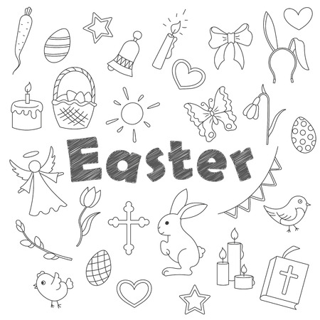 Set contour cartoon of icons on a theme the holiday of Easter was simple contour icons, dark contours on white background Stock Illustratie