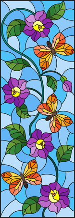 Illustration in stained glass style with abstract curly purple flower and an orange butterfly on blue background, vertical image