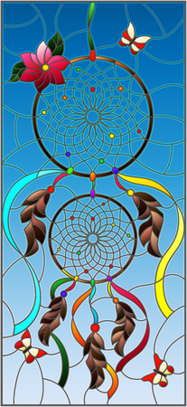 Illustration in stained glass style with dream catcher and butterflies on sky background