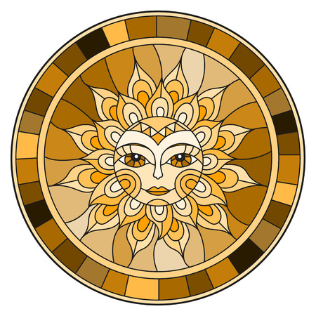Illustration in the style of a stained glass window with abstract sun in frame, round image, brown tone